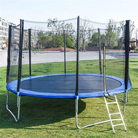 5FT Mini Trampoline with Enclosure Net and Spring Cover Padding Trampoline Fun Exercise Outdoor Trampoline Fitness Body Building