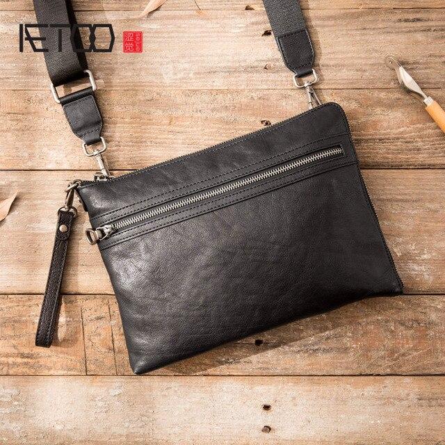 Bolso de mano AETOO para hombre, sobre, de piel, nuevo, suave, de gran capacidad, bolso de mano, bandolera