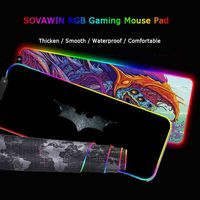 Игровой коврик для мыши светодиодный Большой геймерский коврик для мыши RGB 11Usb светодиодный компьютерный коврик с подсветкой резиновая кла...