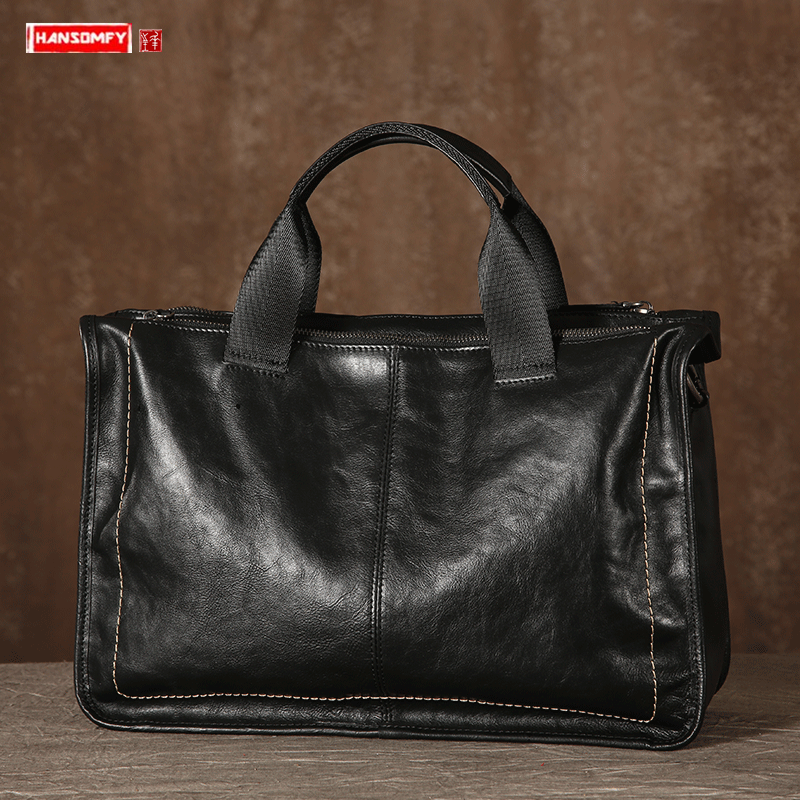 Original Leather Men's Bag Handbag Briefcase Casual Top Layer Leather Laptop Bag Shoulder Messenger Bag Soft Leather Retro Bags