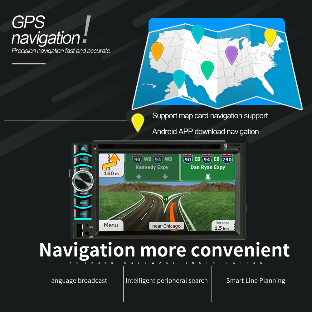 Image 3 - 6.2 Inch Android Car GPS Navigation 2 Din Autoradio Radio Universal Car Multimedia Player DVD BT FM Mirrorlink Stereo Audio 6116-in Vehicle GPS from Automobiles & Motorcycles