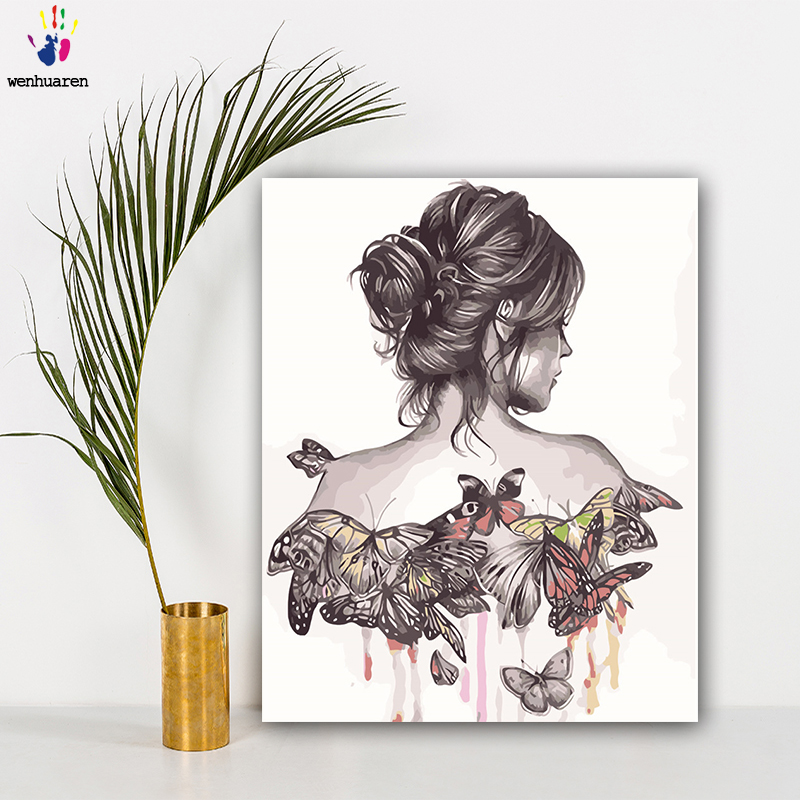 DIY Colorings Pictures By Numbers With Colors The Back Of A Woman Picture Drawing Painting By Numbers Framed Home
