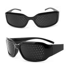 Mały otwór okulary czarny Unisex do pielęgnacji oczu Pin Eye mały otwór okulary otwór okulary oko ćwiczenia wzrok poprawić okulary tanie tanio centechia Improve Glasses Brak CN (pochodzenie) Other Nie-Wciągające Spolaryzowane Okulary Tylko Pakiet 2 3D Glasses