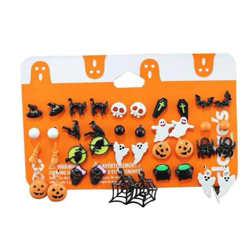 Navidad Halloween Stud Earring Set mujeres Bat calabaza lámpara araña Web esqueleto fantasma Cruz pendientes de botón colgantes joyería al por mayor