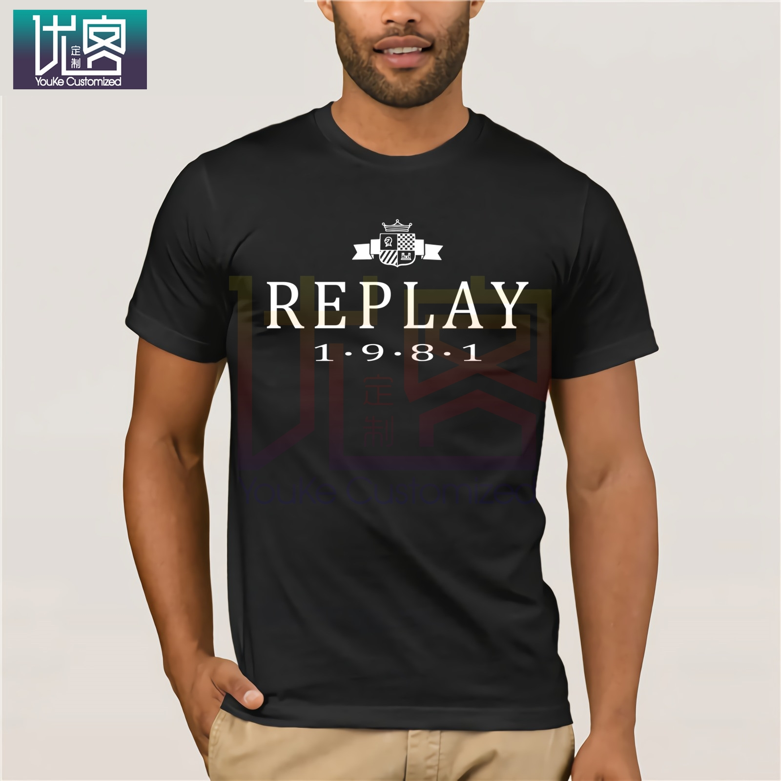REPLAY 1981 T-Shirt Clothes Popular T-Shirt Crewneck 100% Cotton Tees Funny Tees Cotton Tops T-Shirt Casual Short Sleeve Top
