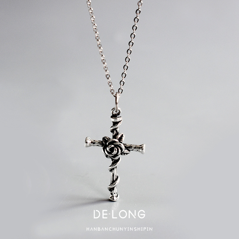 H5d7732f1e57540348f3530d18299fbb0h - Vintage Do Old Rose Cross Pendant Necklace S925 Sterling Silver Personality Trend Female Collarbone Chain