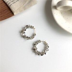 Личность веб-модная обувь знаменитостей с двойной с украшением в виде кристаллов уха кольцо Круглый геометрический металла серьги-гвоздик...