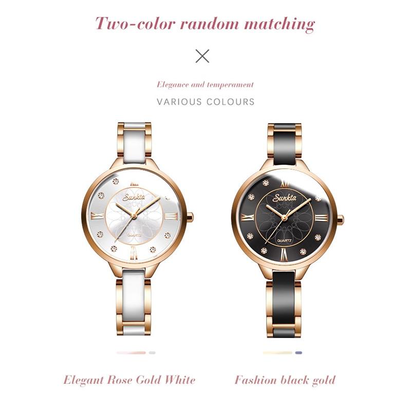Women Watch SUNKTA Top Luxury Brand ceramics Strap Waterproof Ladies Watches Flower Quartz Female Wristwatch Charming Girl Clock Women's Watches Watches - title=