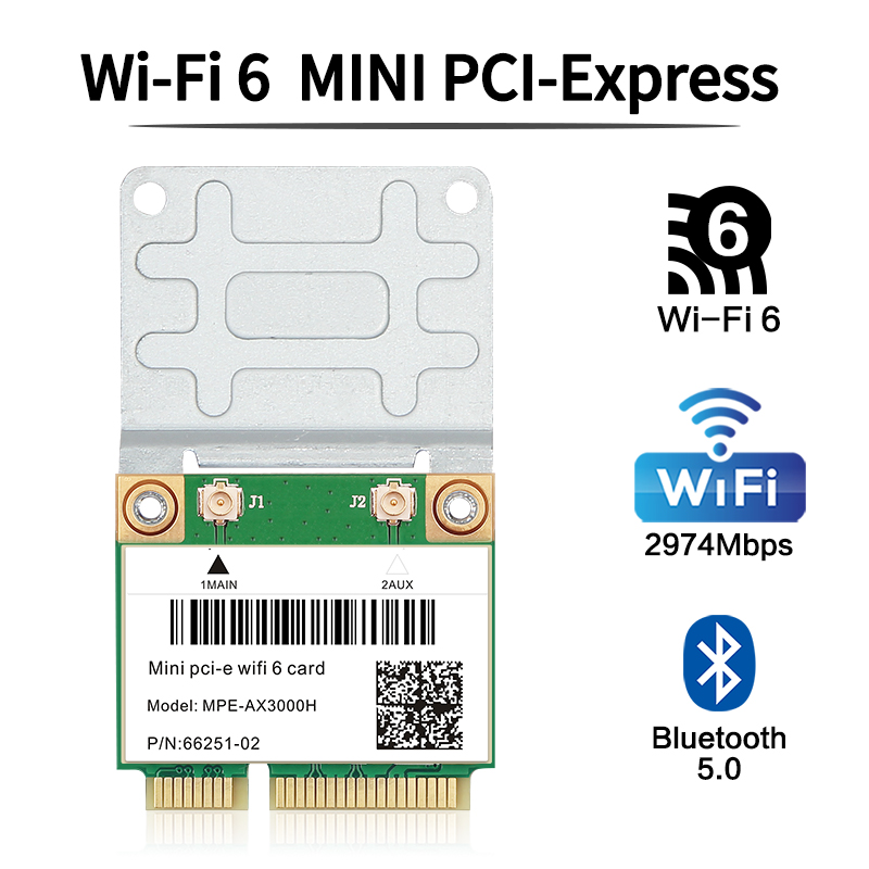 3000 Мбит/с Wi-Fi 6 Беспроводной адаптер Mini PCI-E карта Bluetooth 5,0 Wlan для ноутбука Wi-Fi кард-802.11ax/ac 2,4 г/5 ГГц MU-MIMO Windows 10