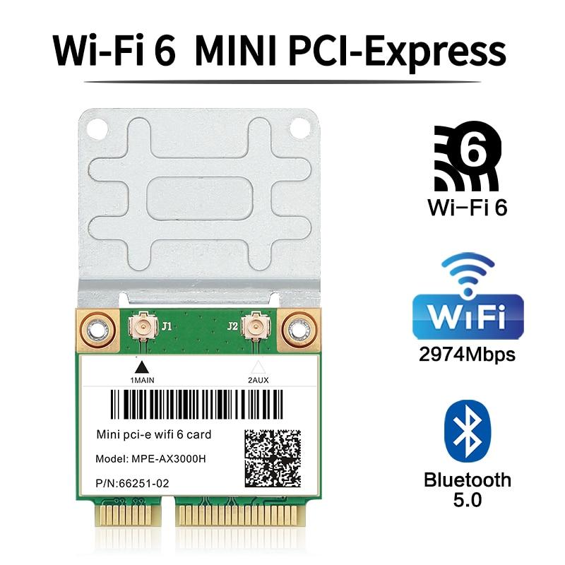3000mbps wifi 6 adaptador sem fio mini cartão pci-e bluetooth 5.0 notebook wlan wifi cartão 802.11ax/ac MU-MIMO windows 10