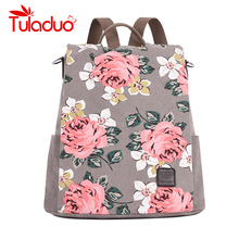 Fresh Style Women Backpacks Floral Print Bookbags Canvas Backpack Anti-theft School Bags for Girls Rucksack Female Travel Bags
