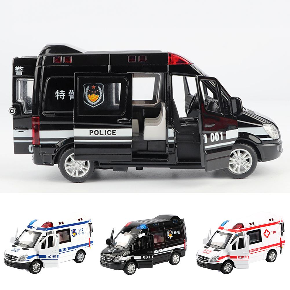 Mini Simulated Pull Back Metal Sound Light Ambulance Police Car Kids Toy Gift Improve Recognition Color Manipulative Capability