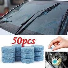 50 pièces voiture essuie-glace détergent Effervescent comprimés laveuse Auto pare-brise nettoyant verre lavage nettoyage Compact concentré outils