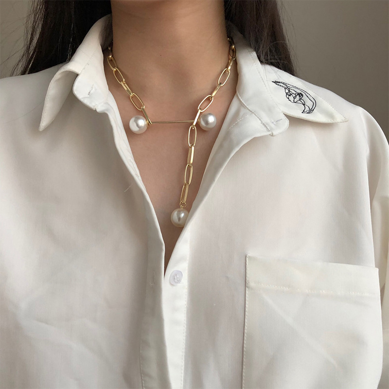 Fashion chain pearl necklace minimalist punk style rectangular adjustable pendant necklace collarbone chain
