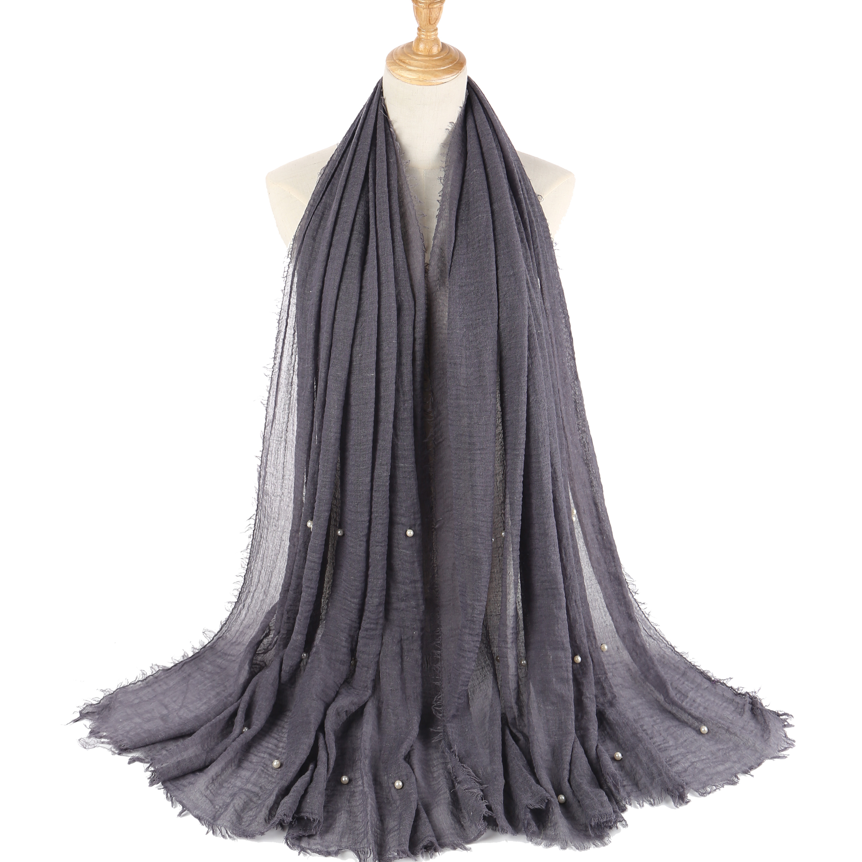 55 Colors Ladies Fashion Bubble Cotton Beads Wrinkle Scarf Shawl Imitation Pearl Wrap Foulard Pashmina Muslim Headband Hijab