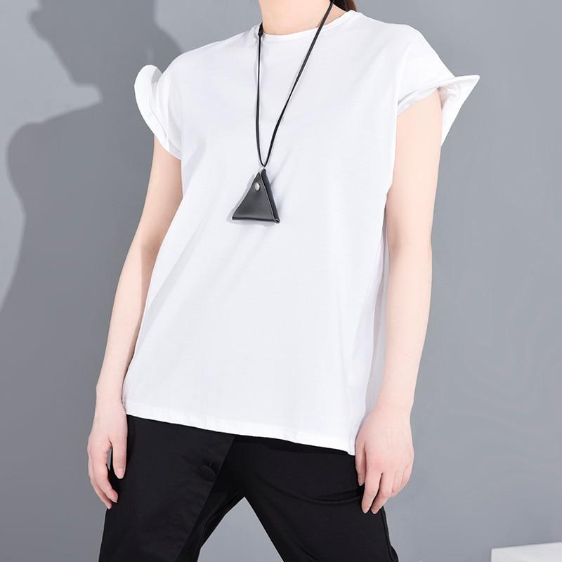 [EAM] Women Black Shaped Split Jooint Big Size T-shirt New Round Neck Short Sleeve Fashion Tide  Spring Summer 2020 1S68301 4