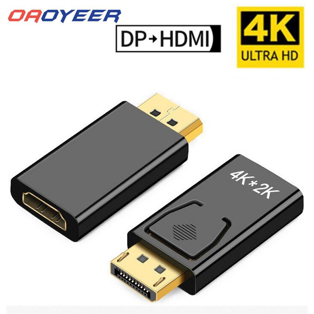 Переходник DP в HDMI-совместимый с макс. 4K 60 Гц, переходник Displayport «штырь-гнездо», кабель-конвертер DisplayPort в адаптер для ТВ, ПК, проектора