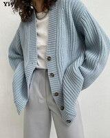 Yiyiyouni cardigan allentati con scollo a v autunno inverno donna maglione oversize Casual monopetto maglioni lavorati a maglia a maniche lunghe femminili