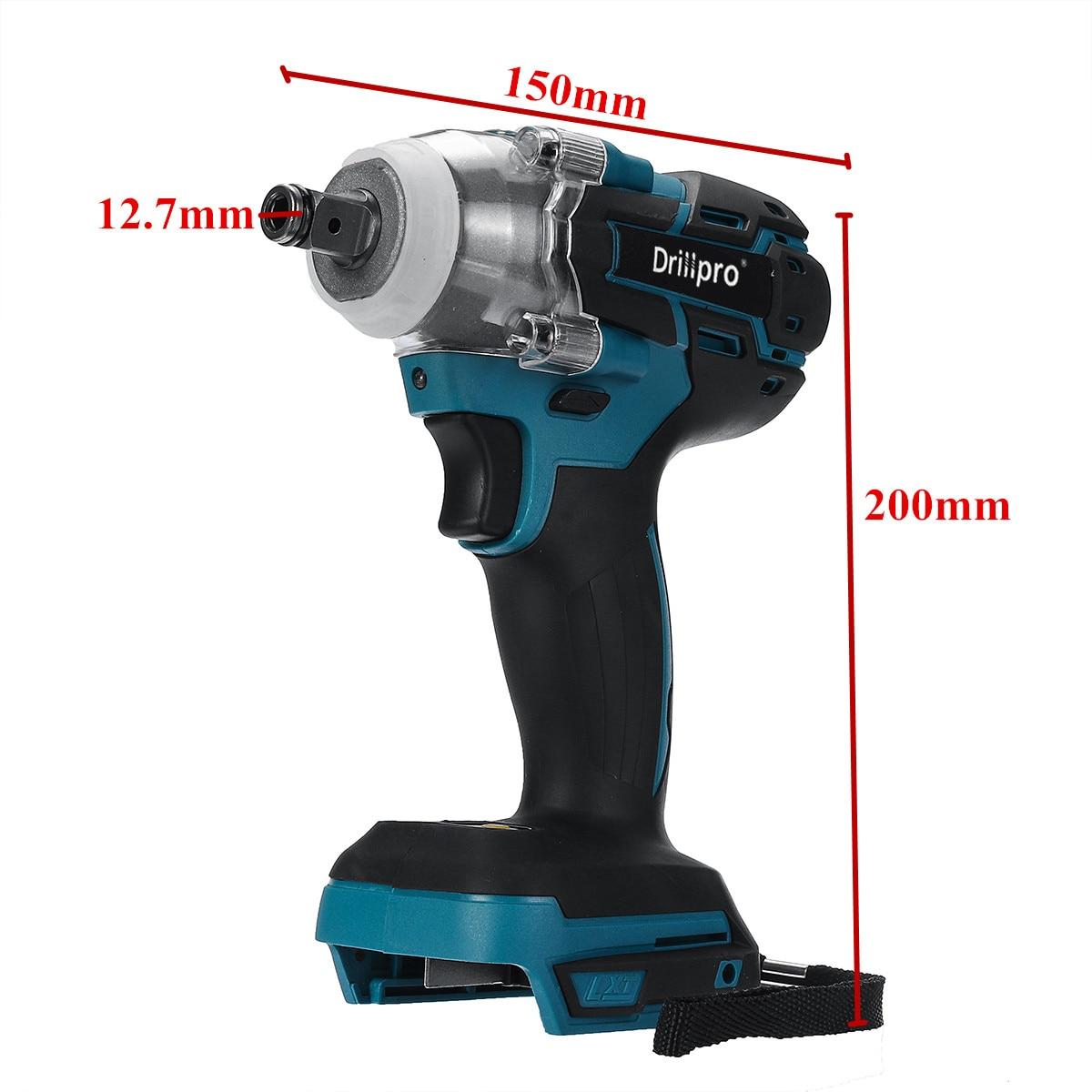Drillpro бесщеточный Электрический Аккумуляторный ударный гайковерт Перезаряжаемые 1/2 дюймов ключ, дюймовый стандарт Мощность инструменты совместимый для Makita 18V Батарея