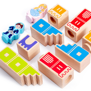 Image 2 - Montessori Camelot Jr Wooden Building Blocks Toys Prince Save The Princess Interactive Games for Kids 3d blocks Christmas Gifts