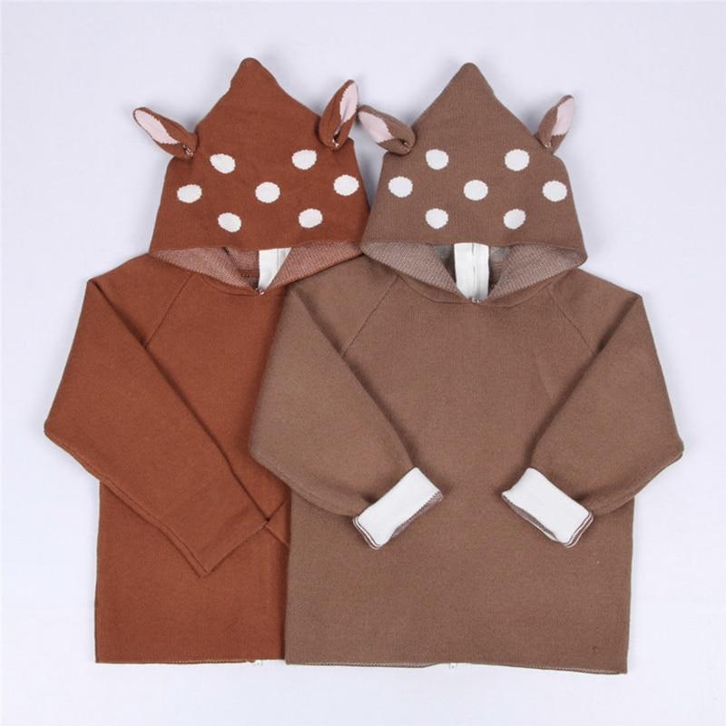 2021 New Kids Girls Knitted Cartoon Sweater Winter Boys Sweater 3D Rabbit Bunny Pullover Baby Girls Winter Clothing 3