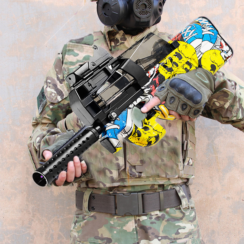 Plastic P90 Toy Gun Assault Sniper Weapon Water Bullet Gun Outdoor Live CS Game Electric Bursts Paintball Pistol Toys For Kids