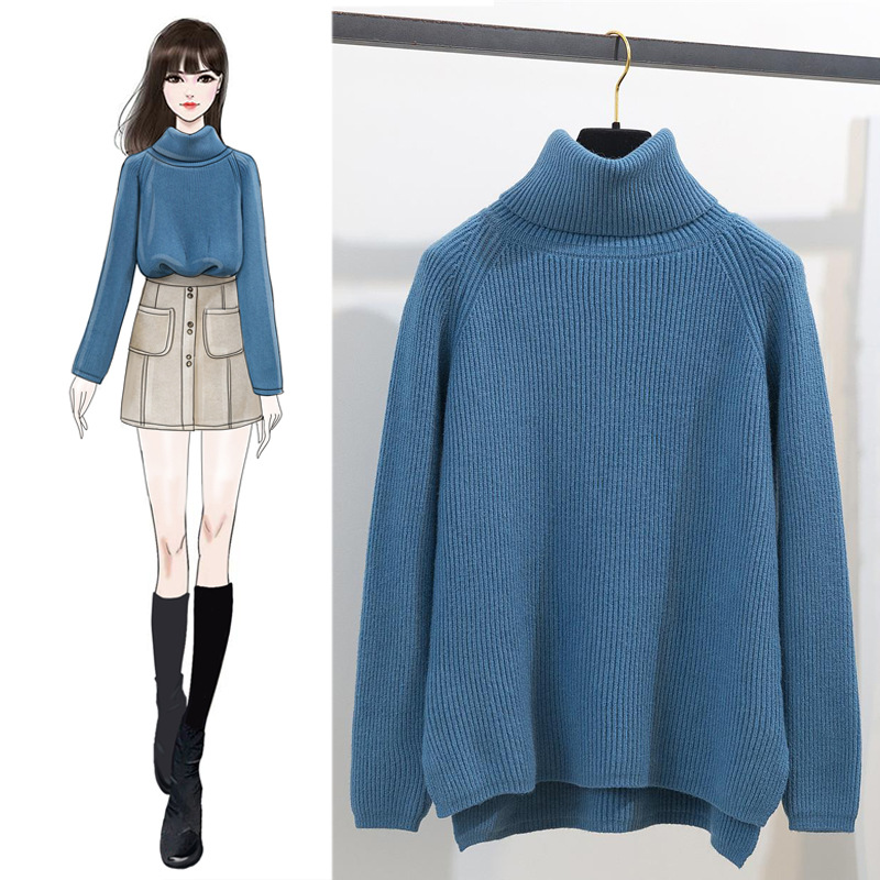 Winter New Style High Collar Versatile Laziness-Style Knitted Sweater Loose-Fit Slimming Base Sweater WOMEN'S Dress