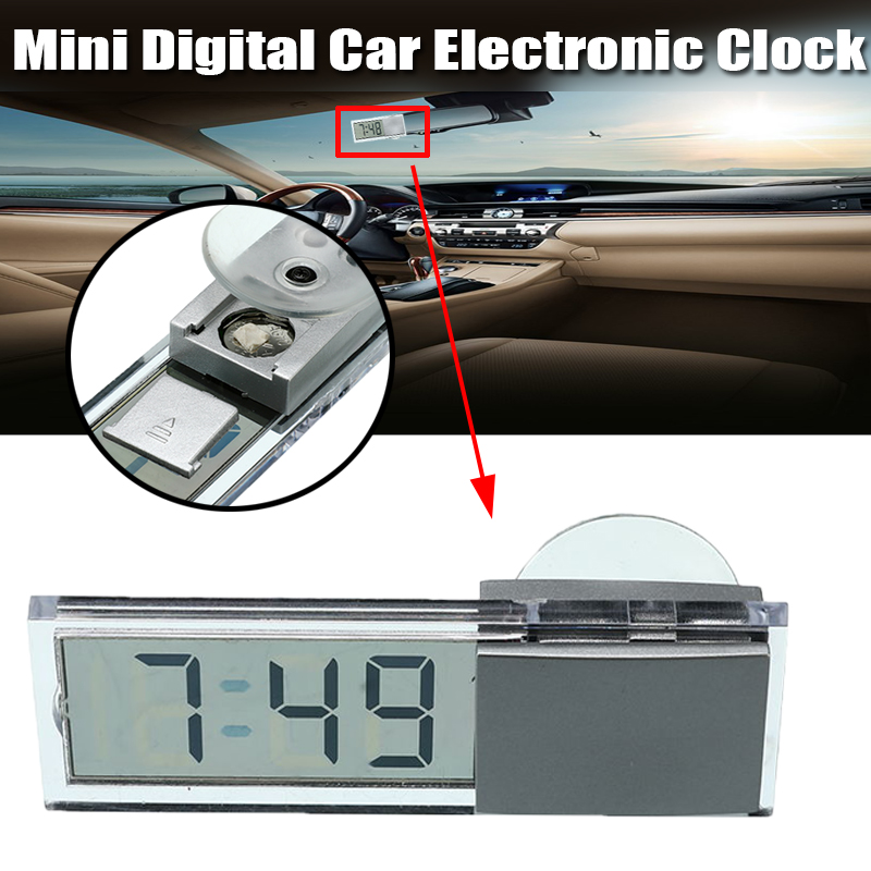 Home Car Electronic Clock Transparent Glass LCD Display Digital with Suction Cup