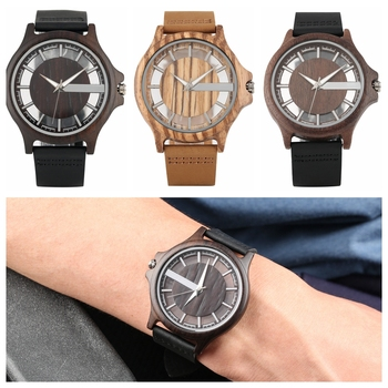 Ebony Wood Watch Men's Transparent Hollow Dial Wooden Watches Analog Timepiece Vintage Quartz Wrist Watch Clock Reloj de madera