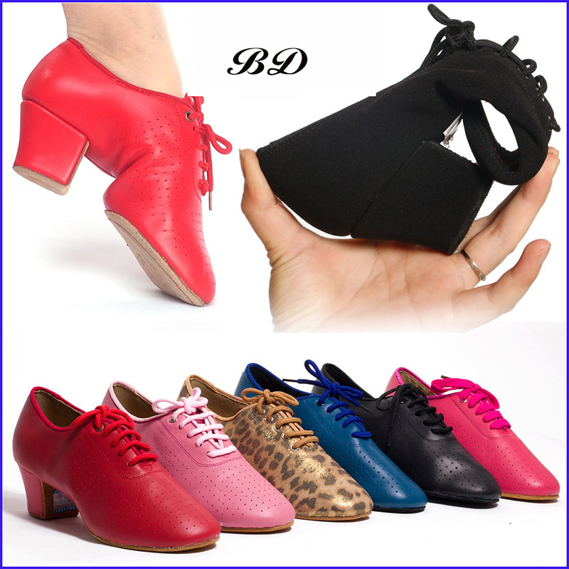 TOP Genuine Leather Latin Dance Shoes Sneakers WOMEN SHOES Jazz Modern Shoe Non-slip Soft Sole Slip-UP BD T1 Ballroom STOCK Lace
