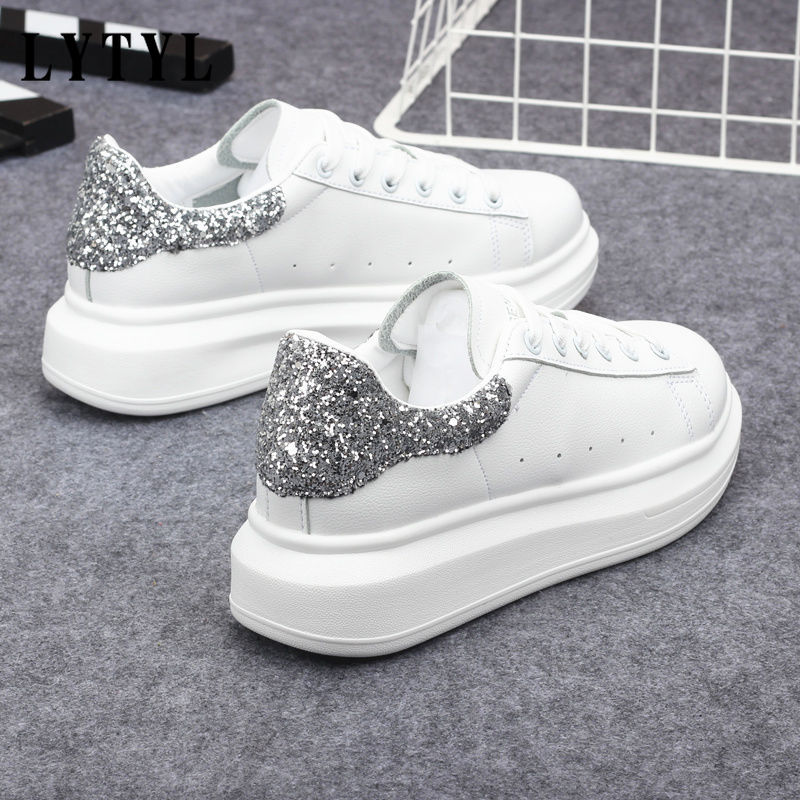 2020 White Sneakers Shoes Female New Spring Autumn Wild Thick Bottom Casual Shoes Sequin Women's Shoes Tenis Feminino B-38