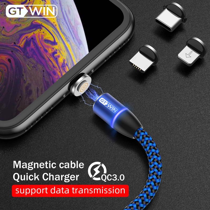 GTWIN 1 M/2 M Magnetische USB Kabel <font><b>3A</b></font> Schnelle Lade Micro USB Typ C Magnet Ladegerät Für iPhone 11 XR Samsung S10 Huawei USB C Kabel image