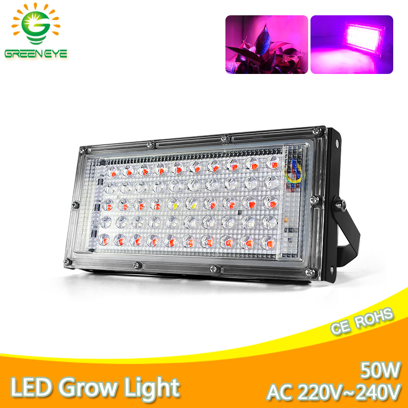 LED Plant Light AC 220V Grow Led Lamp Floodlight 2835 SMD 50W Full Spectrum LED Grow Lamp For Hydroponics Flowers Plants Vegetab