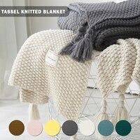 Americano Pastoral estilo de punto de Manta manta para lanzar sofá bien cobija vestible cubierta