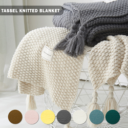 American Pastoral Style Knitted Blanket Sofa Throw Blanket Fine Wearable Blanket Cover