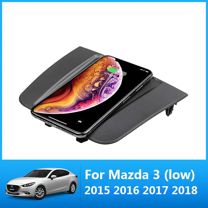 For Mazda 3 Axela 2015-2018 10W QI Wireless Charging Phone Charger Charging Palte Panel Accessories For IPhone For Samsung