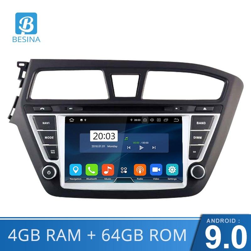 Besina Android 9,0 автомобильный dvd плеер для HYUNDAI i20 2015 2018 gps навигация 2 Din автомобильный радиоприемник wi fi мультимедиа стерео 4G + 64G аудио