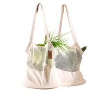 Torby na zakupy wielokrotnego użytku siatka bawełniana torby rozciągliwe torby na zakupy torby letnie torby na rynek czarny i beżowy Ecobag tanie tanio CN (pochodzenie) Nowoczesne T2883