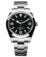 Reloj deportivo mecánico automático para hombre, pulsera de cristal de zafiro negro resistente al agua, de acero inoxidable, nuevo