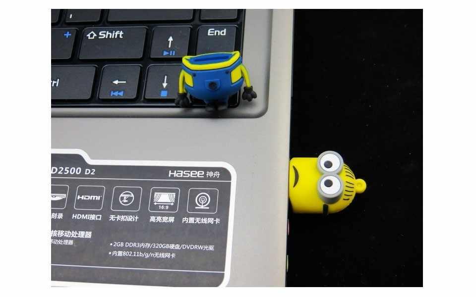 Милые Мультяшные диски-Миньоны USB Флешка-ручка для хранения USB флеш-накопитель 128 Гб 64 ГБ 32 ГБ 16 ГБ 8 ГБ флеш-накопитель