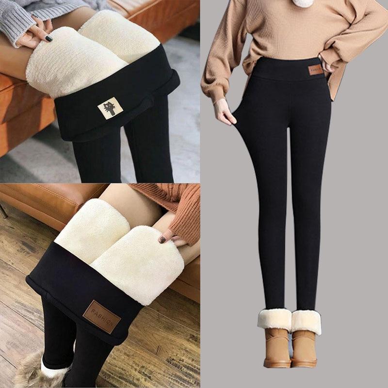 Black Warm Pants Winter Legging Women Cashmere Leggings Girl Trousers Thick Velvet Wool Fleece Pants For Female Sex Leggings