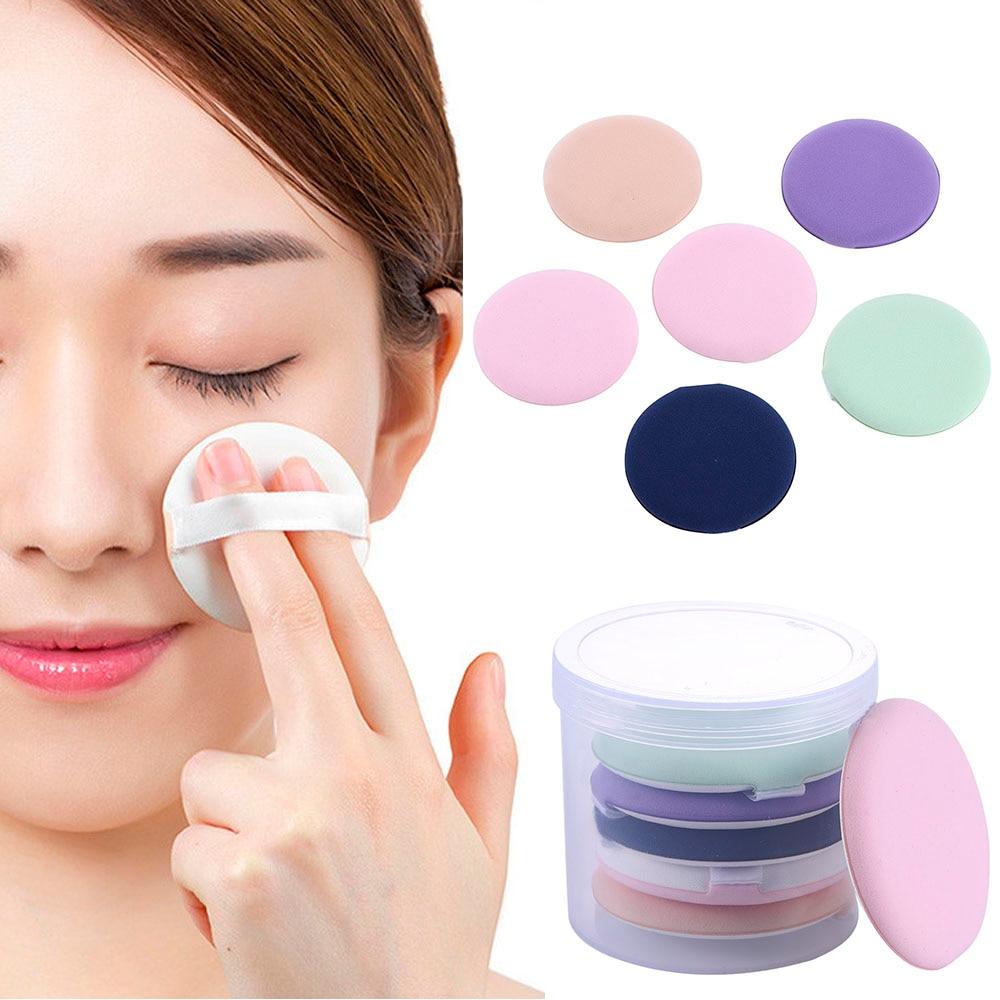 6 Pcs/Box Round Shape Sponge Cosmetic Puff Wet Dry Two Way BB Cream Face Air Cushion Puff Microfiber Cosmetic Tool Non-Latex