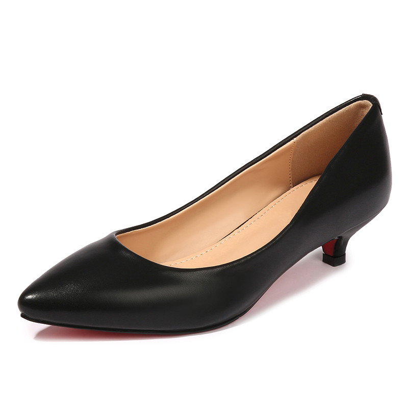 Women Genuine Split Leather Med High Heels New High Quality Shoes Classic Black White Pumps Shoes For Office Ladies Shoes F0002