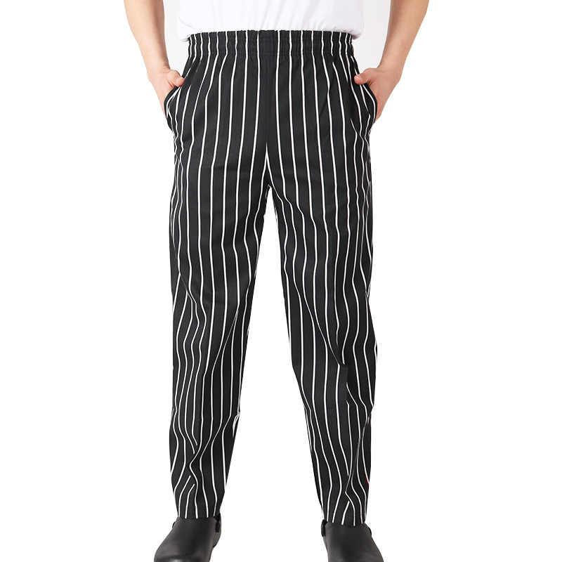 Männer Chef Lebensmittel Service Lose Hosen Gestreiften Küche Arbeit Tragen Restaurant Uniform Männlichen Breiten Bein Business Kochen Hosen Maxi Böden