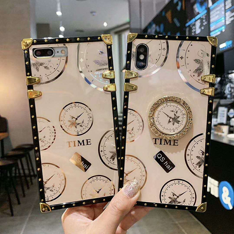 Luxury glossy time pattern TPU material square Phone Case For iPhone SE 6 6s 7 8 Plus 11 Pro X XR XS MAX time Ring Bracket Cover (1)