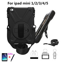 Shockproof Case for iPad Mini 1 2 3 4 Kids / ipad mini 5 2019 Case with Stand Hand Strap Shoulder Silicone Safe Child Cover+gift