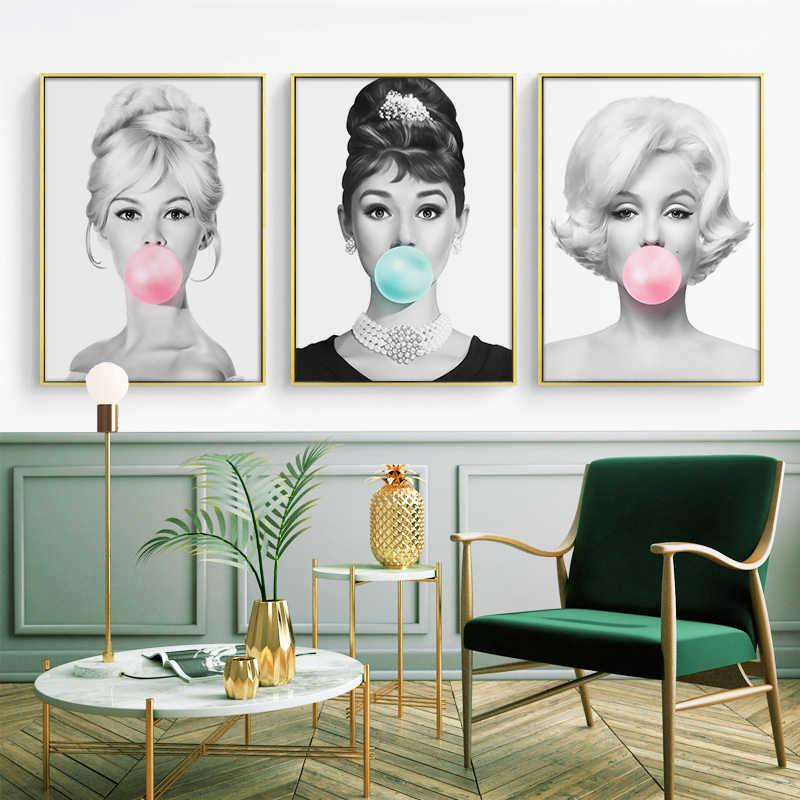 ملصقات فنية جدارية من القماش على شكل فقاقيع هيبورن ملصقات بريجيت باردوت ومارلين مونرو لوحات مطبوعة ديكور منزلي