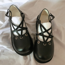 Купить с кэшбэком Rosetic Women Shoes Pentagram Gothic Thick Shoes Dark Black Harajuku Girl Cross Straps Big Head Doll Shoes Vintage Women Shoes