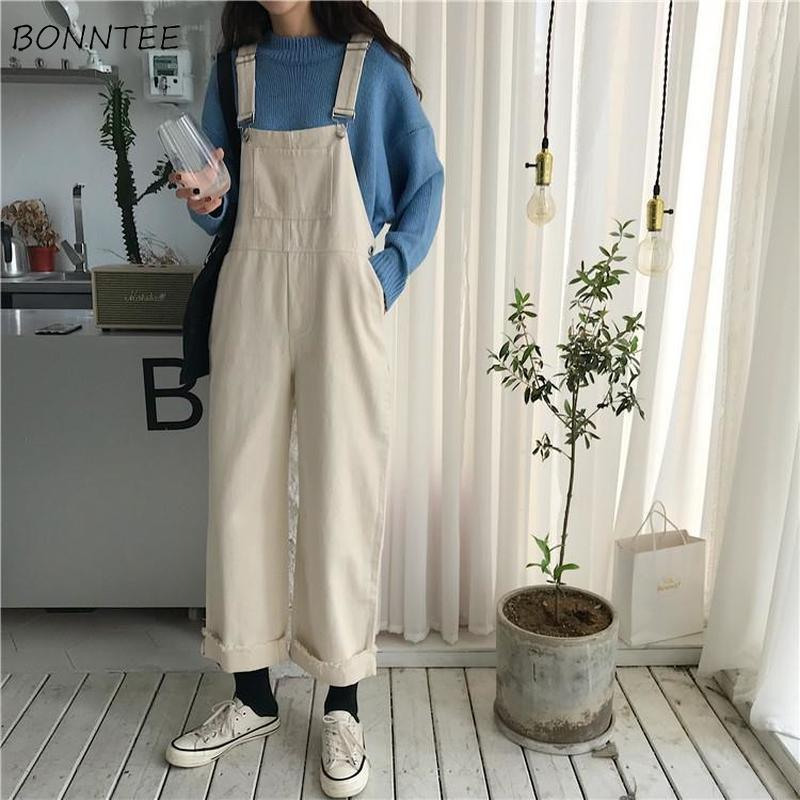 Jumpsuits Women Loose Solid Simple Ankle-length Streetwear Korean Style Chic Womens Trendy Casual Ulzzang Spring Autumn Overall