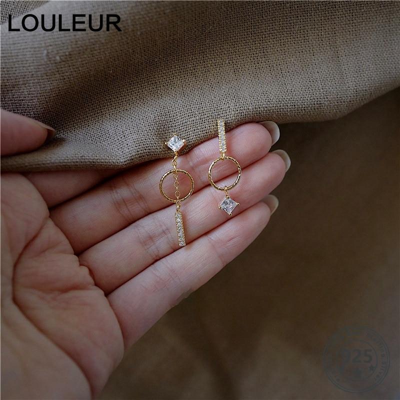 Louleur 925 Sterling Silver Zircon Earrings Fashion Geometric Asymmetrical Earrings For Women Elegant 925 Silver Jewelry Gifts